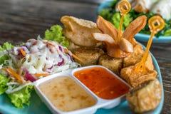 Tofu, Sausage, Pork dumpling fried and salad (Thai food) Royalty Free Stock Photo