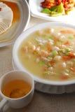 Tofu shrimp scallop soup. Tofu scallop shrimp vegetable soup stock photography