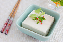 Tofu. Simple Chinese dish with tofu and vegetable royalty free stock photography