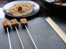 Sesame tofu skewers Stock Photos