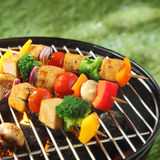Tofu skewers grilling on a barbecue. Tofu skewers with colorful vegetables including broccoli, sweet pepper,smoked tofu, tomatoes , onions and mushrooms Stock Photo