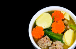 Tofu soup. With vegetables and pork Royalty Free Stock Photography