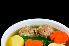 Tofu soup. With vegetables and pork Royalty Free Stock Photo