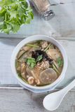 Tofu soup with chopped pork. Top view. Stock Images