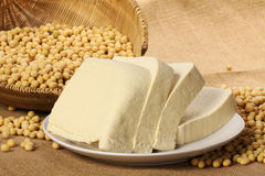 TOFU AND SOY BEANS. Soy beans and tofu close up Stock Photo