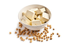 Tofu and soy beans Stock Photography