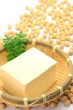 Tofu and soybean. The tofu is a processed food of the soybeans Royalty Free Stock Photos