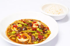 Tofu stir fried with korean chili sauce Stock Images