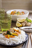 Tofu stir fry with vegetables Stock Photo