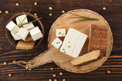 Tofu and tempeh background. Stock Images
