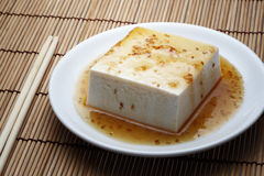 Tofu with topped by japanese sauce set Royalty Free Stock Photo