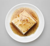 Tofu with topped by japanese sauce set Stock Image