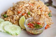 Tofu und gebratener Gemüsereis, siamesisches Menü Stockfotografie