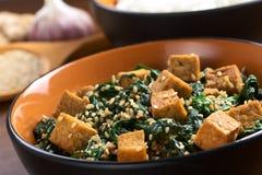 Tofu, van de Spinazie en van de Sesam be*wegen-Gebraden gerecht stock foto's