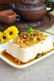 Tofu van de stoom met gebraden ui Chinese stijl Stock Fotografie