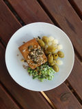 Tofu vegan food in a dish Royalty Free Stock Images