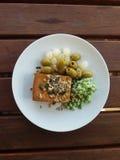 Tofu vegan food in a dish Stock Photo