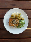 Tofu vegan food in a dish Stock Photography