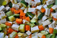 Tofu and vegetables Stock Photography