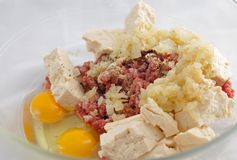 Tofuhamburgareingredienser Royaltyfri Foto