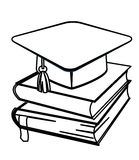 Toga hat and books coloring page Stock Image