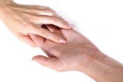 Togather de secousse de main de femme et d'homme Images stock