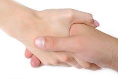 Togather de secousse de main de femme et d'homme Photographie stock libre de droits