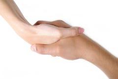 Togather de secousse de main de femme et d'homme Photos stock