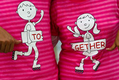Together. Couple wear together pink T-shirt Royalty Free Stock Images