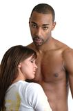 Together. A woman resting her head against a man's bare chest Royalty Free Stock Images