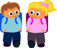 Together 2 school. Vektor of boy and girl walking to school together Royalty Free Stock Images