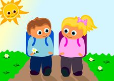 Together 2 school. Vektor of boy and girl walking to school together Stock Images