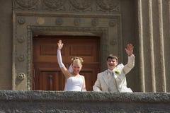Together. Bride and groom walking around Novosibirsk, Siberia Stock Photography