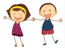 Together. Illustration of a girl and boy together Stock Image