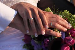 Together. Hands of bride and groom Stock Photography