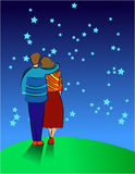 Together. Illustration of a couple in the night full of stars Royalty Free Stock Photo
