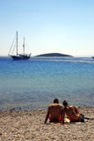 Together. On a mediterranean island. here is island of donkey :) cesme, turkiye Stock Images