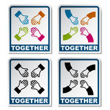 Together aiming hands sticker Stock Image