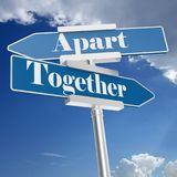 Together and Apart signs Royalty Free Stock Photography