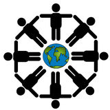 Together around the world. A group of illustrated persons standing around the world vector illustration