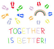 Together is better. Circles of colored footsteps with stains and rainbow Royalty Free Stock Images