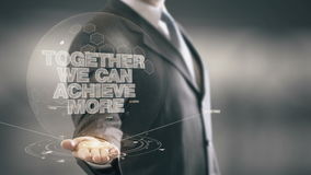 Together We Can Achieve More Businessman Holding in Hand New technologies Royalty Free Stock Photos