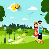 Together in City Park. man and Woman in Love. Cartoon. Vector Urban Landscape royalty free illustration