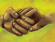 Together. Clasped hands of friends or lovers. Hand drawn pencil sketch colored Royalty Free Stock Images