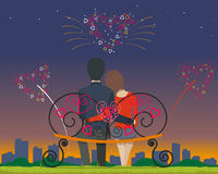 Together. Couple sitting on a bench in the park in the evening and watching fireworks on Valentine's Day. Vector illustration Royalty Free Stock Images