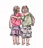 Together for ever. Drawing of the boy and the girl which stand having embraced vector illustration