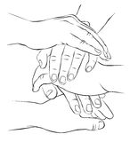 Together. A few hands folded together Royalty Free Stock Photo