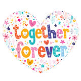 Together forever heart shaped type lettering vector design Stock Photography