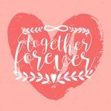 Together Forever inscription, phrase or slogan handwritten with elegant cursive font against pink hand drawn heart on. Background. Artistic vector illustration royalty free illustration
