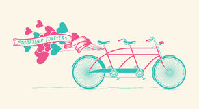 Together forever - vintage tandem bicycle with hearts balloons. Together forever - vintage Illustration of tandem bicycle with hearts balloons over white vector illustration